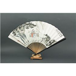Chinese WC Fan Painting w/Stand Cao Bin 1955-
