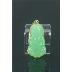 Chinese Grade A Green Jadeite Guanyin W/Gold Frame