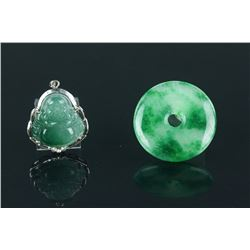 2 Pieces of Chinese Green Jadeite Carved Pendants