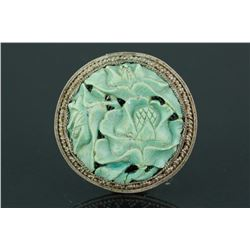 Old Chinese Turquoise with Silver Frame