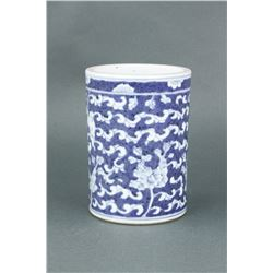 Chinese BW Porcelain Brushpot 17/18th C.
