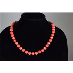 Chinese Natural Red Coral Necklace w/ 18K Clasp