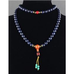 Chinese Lapis Coral & Amber Necklace
