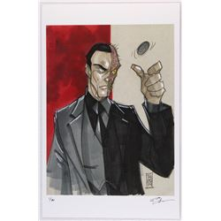 """Two-Face"" Batman Villain Series Signed Limited Edition 11x17 Lithograph by Tom Hodges #18/20"