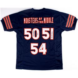 "Dick Butkus, Brian Urlacher & Mike Singletary Signed Bears ""Monsters of the Middle"" Jersey Inscribed"