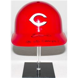 "Eric Davis Signed Reds Full-Size Replica Batting Helmet Inscribed ""90 WS Champs!"" (Schwartz COA)"