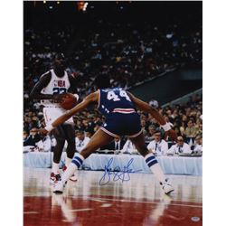 George Gervin Signed All-Star 16x20 Photo vs. Michael Jordan (Schwartz COA)