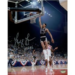 "George Gervin Signed Spurs 8x10 Photo Inscribed ""HOF 96"" (Schwartz COA)"