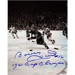 "Bobby Hull Signed Blackhawks 1961 Stanley Cup Finals 8x10 Photo Inscribed ""1961 Cup Champs"" (Schwart"