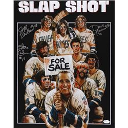 "Dave Hanson, Steve Carlson & Jeff Carlson Signed ""Slap Shot"" 16x20 Photo (JSA COA)"