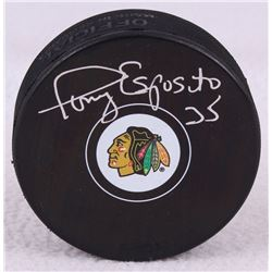 Tony Esposito Signed Blackhawks Logo Hockey Puck (Schwartz COA)