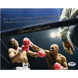 Earnie Shavers Signed 8x10 Photo vs. Muhammad Ali with Extensive Inscription Referencing Ali (PSA CO