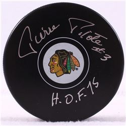 "Pierre Pilote Signed Blackhawks Logo Puck Inscribed ""H.O.F. 75"" (Schwartz COA)"