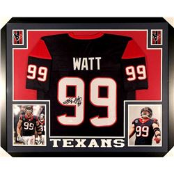 J.J. Watt Signed Texans 35x43 Custom Framed Jersey (JSA COA)