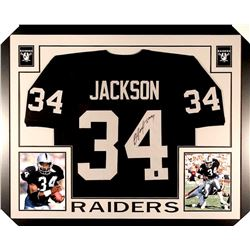Bo Jackson Signed Raiders 35x43 Custom Framed Jersey (GTSM)