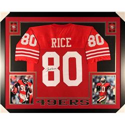 Jerry Rice Signed 49ers 35x43 Custom Framed Jersey (JSA COA)