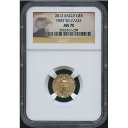 2012 American Eagle First Release $5 Five Dollar Gold Coin (NGC MS-70)