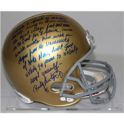 "Rudy Ruettiger Signed Full-Size Notre Dame Helmet with ""Full Speech"" Extensive Inscription (Steiner"