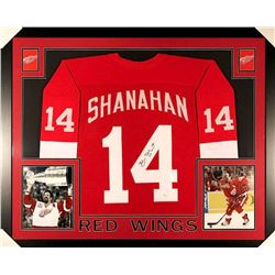 Brendan Shanahan Signed Red Wings 35x43 Custom Framed Jersey (JSA COA)