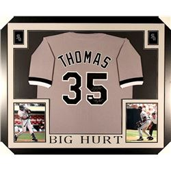 "Frank Thomas Signed White Sox 35x43 Custom Framed Jersey Inscribed ""Big Hurt"" (JSA COA)"