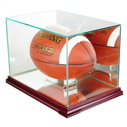 Premium Rectangle Football Display Case with Mirrored Back & Cherry Wood Base (New)