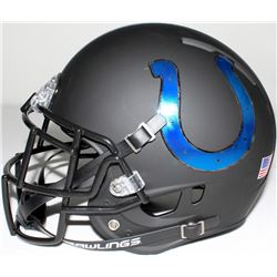 Indianapolis Colts Custom Full-Size Matte Black Authentic Pro-Line Helmet with Chrome Decals