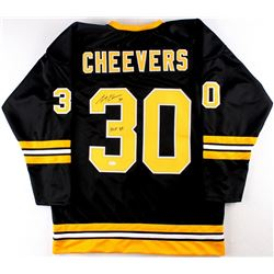 "Gerry Cheevers Signed Bruins Jersey Inscribed ""HOF 85"" (JSA COA)"