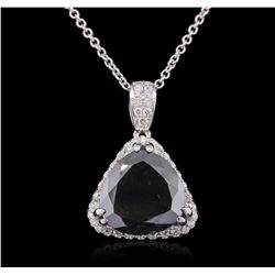 14KT White Gold 6.68 ctw Black Diamond Pendant With Chain