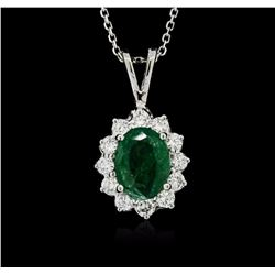 14KT White Gold 1.58 ctw Emerald and Diamond Pendant With Chain