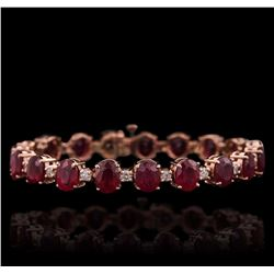 14KT Rose Gold 28.72 ctw Ruby and Diamond Bracelet