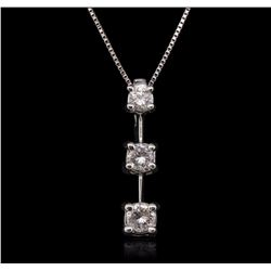 14KT White Gold Diamond Pendant With Chain GB7118