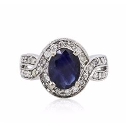 14KT White Gold 1.73 ctw Sapphire and Diamond Ring