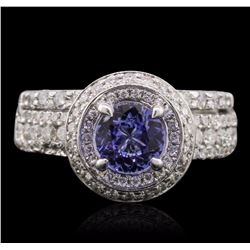 14KT White Gold 0.78 ctw Tanzanite and Diamond Ring