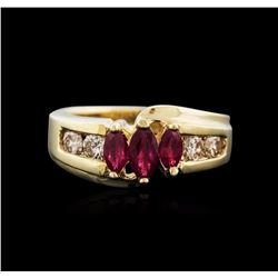 14KT Yellow Gold 0.37 ctw Ruby and Diamond Ring