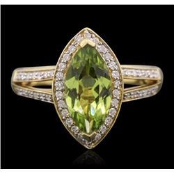 14KT Yellow Gold 1.85 ctw Tsavorite and Diamond Ring