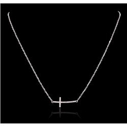 14KT White Gold 0.13 ctw Diamond Pendant With Chain