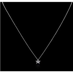14KT White Gold 0.20 ctw Diamond Star Pendant With Chain