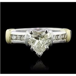 14KT Two-Tone 1.29 ctw Heart Cut Diamond Ring