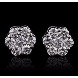 14KT White Gold 1.65 ctw Diamond Earrings
