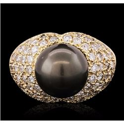 14KT Yellow Gold 1.70 ctw Diamond and Pearl Ring