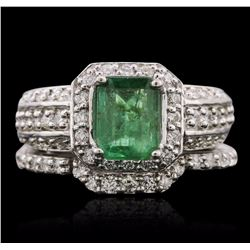 14KT White Gold 1.20 ctw Emerald and Diamond Wedding Set