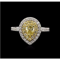 1.08 ctw Yellow Diamond Ring - 14KT White Gold