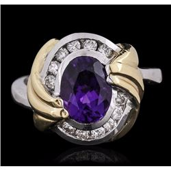 14KT Two-Tone Gold 2.00 ctw Amethyst and Diamond Ring