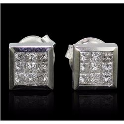 14KT White Gold 0.73 ctw Diamond Earrings