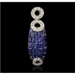 14KT White Gold 1.76 ctw Sapphire and Diamond Pendant