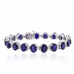 14KT White Gold 31.32 ctw Corundum and Diamond Bracelet