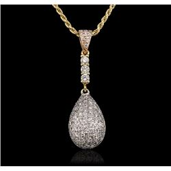 14KT Tri-Tone Gold 0.93 ctw Diamond Pendant With Chain