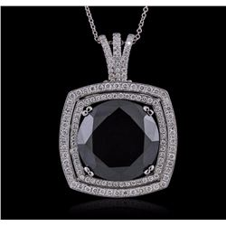 14KT White Gold 28.62 ctw Black Diamond Pendant With Chain