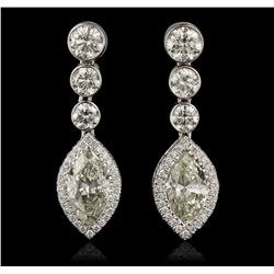 18KT White Gold 4.89 ctw Diamond Earrings