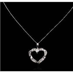 14KT White Gold 0.50 ctw Diamond Heart Pendant With Chain